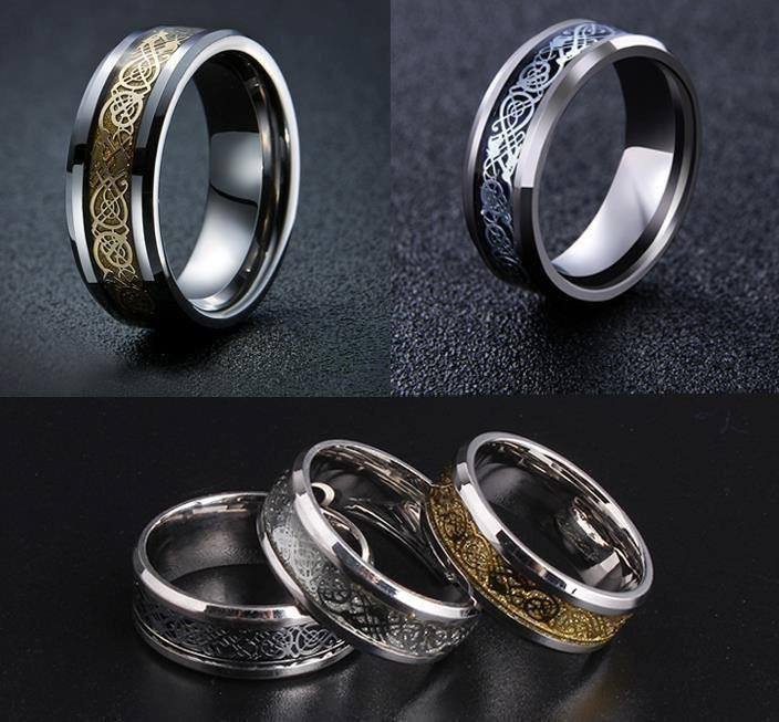 nordic dragon viking steel ring - Viking Wedding Rings