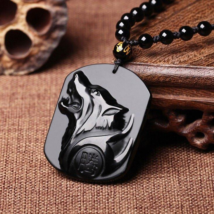 NIGHTWOLF Obsidian Necklace - The Dragon Shop - Geek Culture