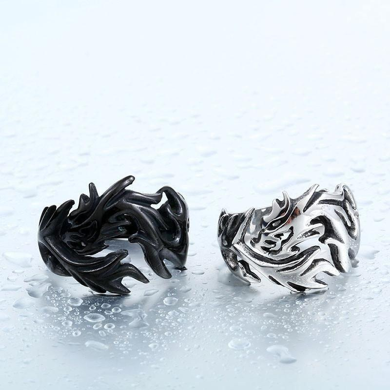 Dragon Storm Steel Ring - The Dragon Shop - Geek Culture