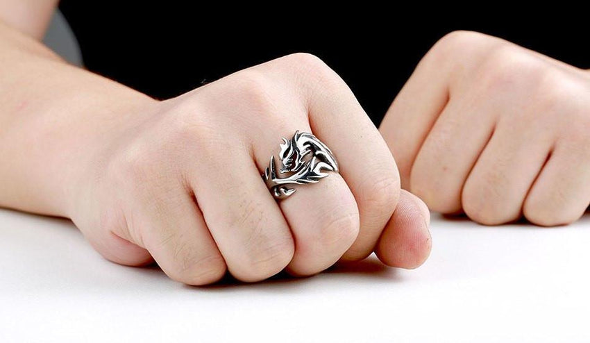 Dragon Storm Stainless Steel Ring - The Dragon Shop - Geek Culture