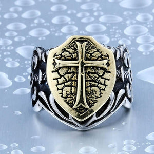 Crusader Shield Steel Ring - The Dragon Shop - Geek Culture