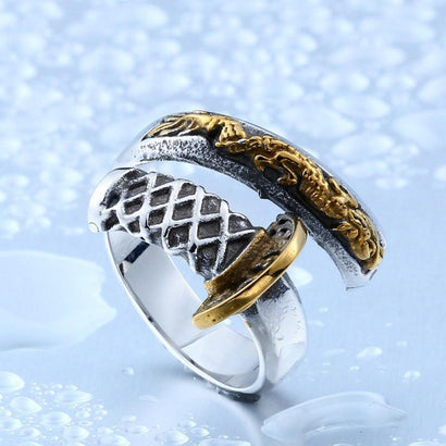 KATANA Stainless Steel Ring - The Dragon Shop - Geek Culture