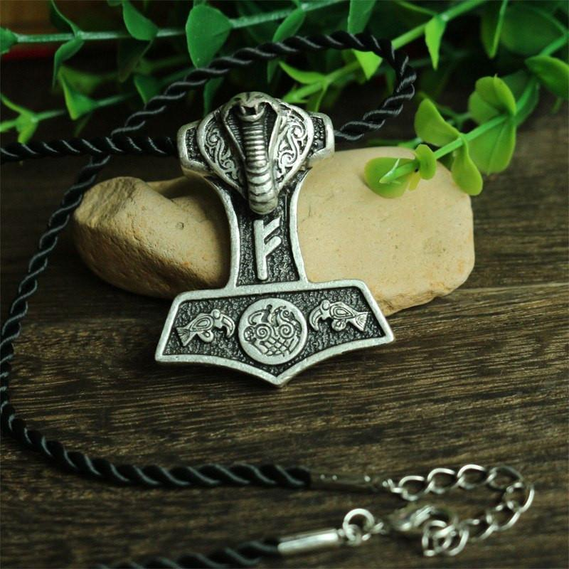 Jormungandr Thor Hammer Necklace - The Dragon Shop - Geek Culture