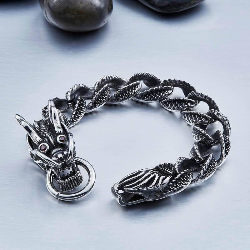 MYSTIC DRAGON Steel Bracelet - The Dragon Shop - Geek Culture