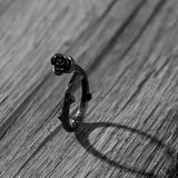Black Rose Steel Ring - The Dragon Shop - Geek Culture