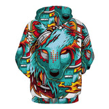 Cyber Wolf Artistic Hoodie - The Dragon Shop - Geek Culture