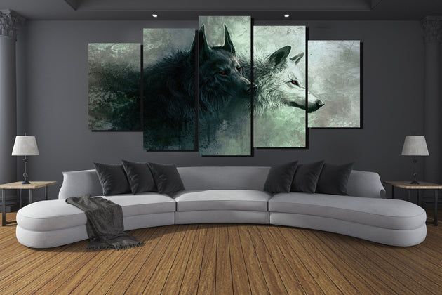 Yin & Yang Wolves 5 Piece Canvas - The Dragon Shop - Geek Culture