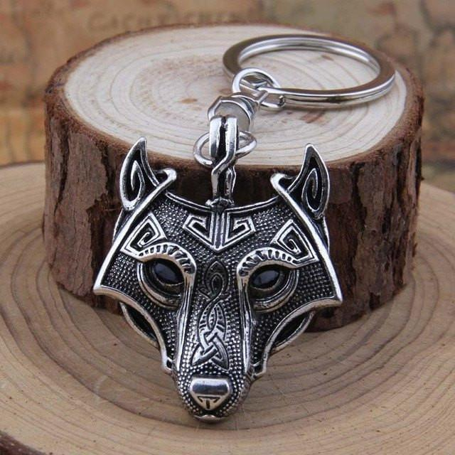 Nordic Wolf Steel Keychain - The Dragon Shop - Geek Culture