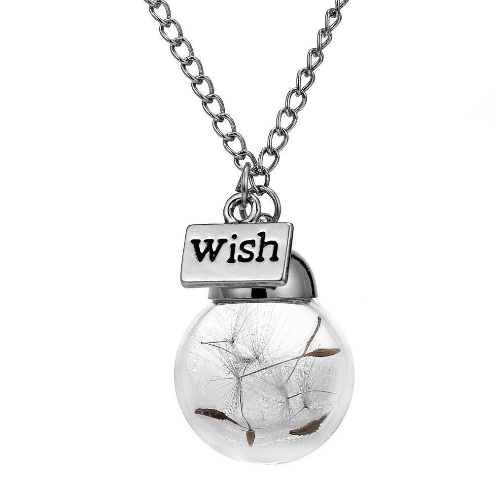 """The Wish"" Dandelion Glass Necklace"
