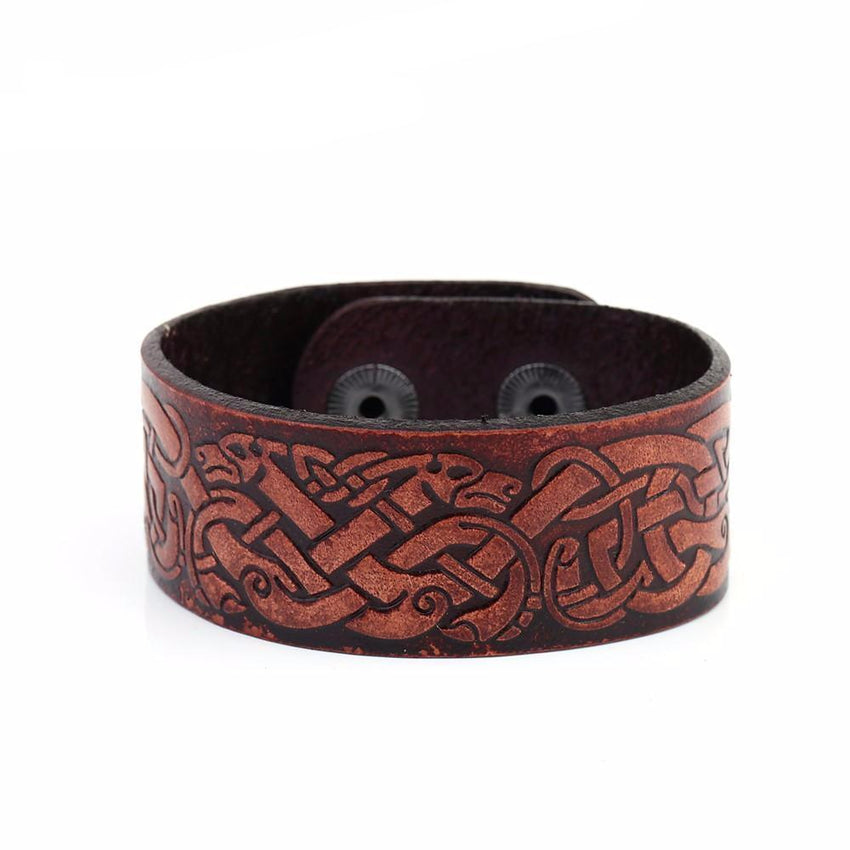 Nordic Dragon Leather Bracelet - The Dragon Shop - Geek Culture