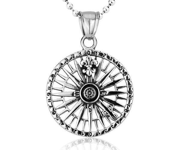 WARRIOR'S COMPASS Stainless Steel Necklace - The Dragon Shop - Geek Culture
