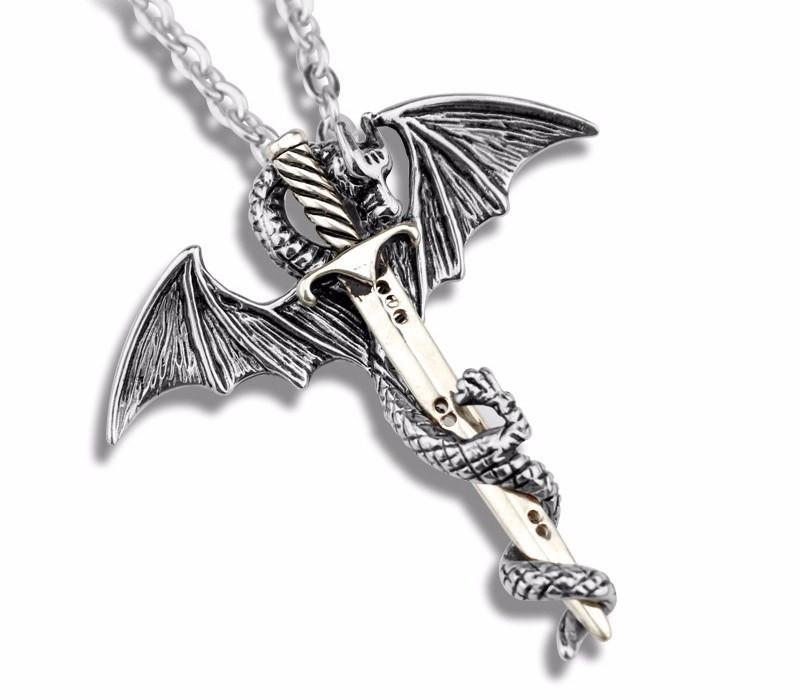 Dragon Sword Stainless Steel Necklace - The Dragon Shop - Geek Culture