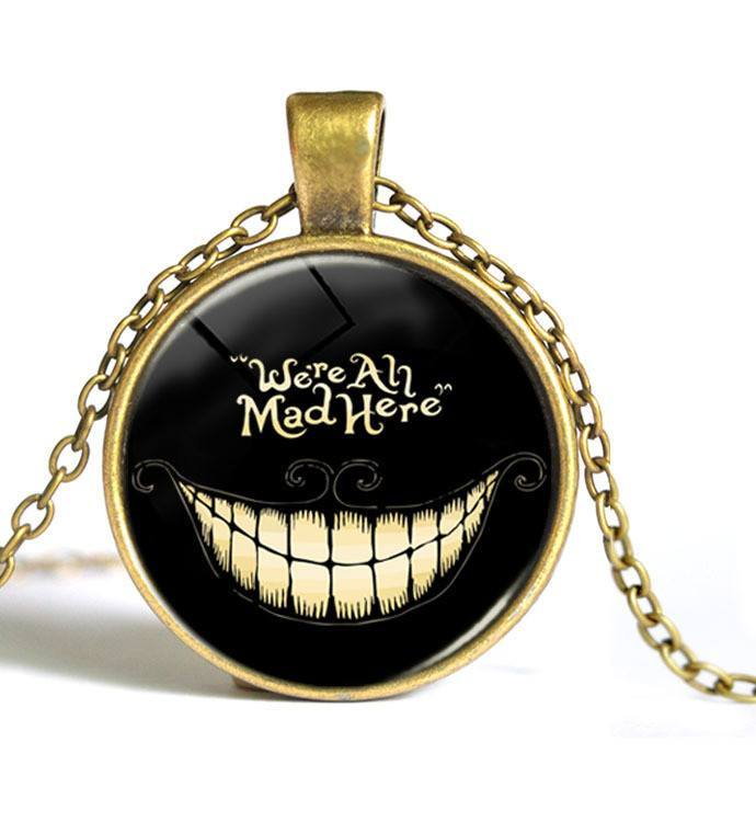 We're All Mad Here Glass Necklace