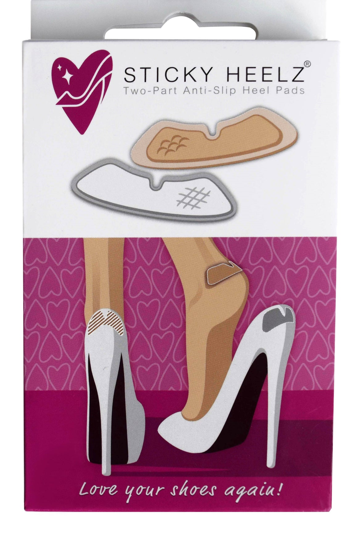 6 PACK WHITE STICKY HEELZ HEEL PADS