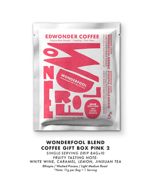 Wonderfool Blend Coffee_Gift Box_Pink Fruity Label_Drip & Bean Bag