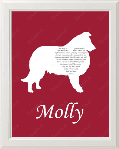 Personalized Collie Pet Memorial Poem Memorial Gift 8 X 10 Print
