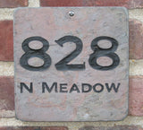 Personalized Address Marker With Street Number Engraved Slate 6 x 6 Inch Street Number Address Marker Address Plaque