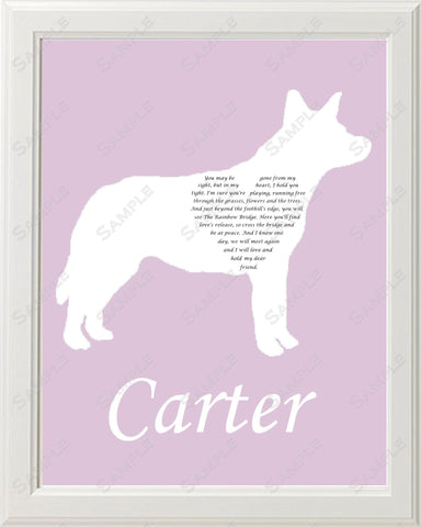 Personalized Australian Cattle Dog Pet Memorial Poem Gift 8 X 10 Print