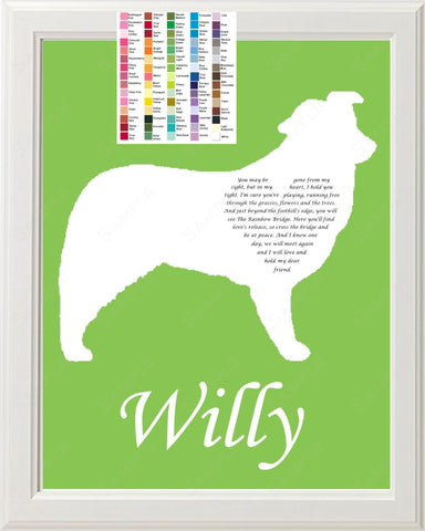Personalized Australian Shepherd Pet Memorial Poem Memorial Gift 8 X 10 Print