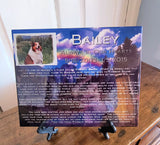 Memorial Gifts, Rainbow Bridge Pet Memorials 8 x 10 Ceramic Tile w/ Easel