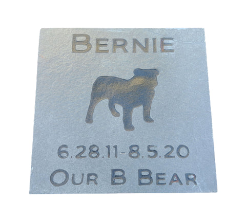 Bulldog Memorial Stone, Headstone, Pet Grave Marker 6 x 6 Inch - MainlineEngraving.Com