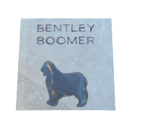 Old English Sheepdog Memorial Stone, Grave Markers 6 x 6 Inch Slate