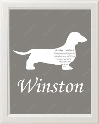 Personalized Dachshund Pet Memorial Poem Memorial Gift 8 X 10 Print