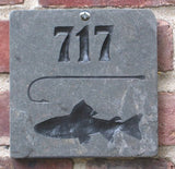 Fish & Hook Address Marker Engraved Slate 6 x 6 Inch Address Marker Street Number With Fish and Fishing Hook