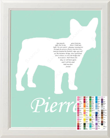 Personalized French Bulldog Pet Memorial Poem Memorial Gift 8 X 10 Print