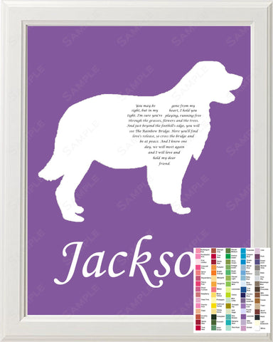 Personalized Golden Retriever Pet Memorial Poem Memorial Gift 8 X 10 Print