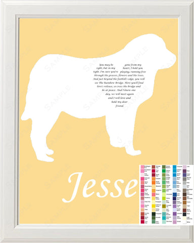 Personalized Great Pyreness Pet Memorial Poem Memorial Gift 8 X 10 Print