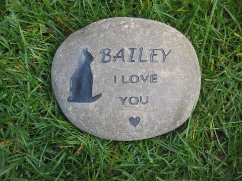 Personalized Stone Cat Pet Memorial Stone Grave Marker 8-9 Inch Headstone Burial Cemetery Headstone Memorial Pet Stone Marker
