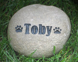 Personalized Pet Memorial Gravestone Headstone Grave Marker With Small Paw Print Garden Memorial Stone 5-6 Inch Memorial Burial Stone Grave Marker
