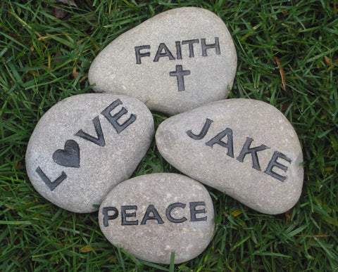 Personalized Engraved Garden Stone 3-4 Inch River Stone You Pick The Word
