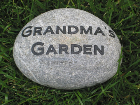 Memorial Garden Stone For Mom and Grandmom, Engraved, Natural River Stone Memorial 7-8 Inch