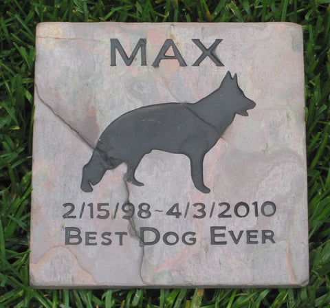 German Shepherd Pet Memorial Stone Headstone 6 x 6 Inch - MainlineEngraving.Com