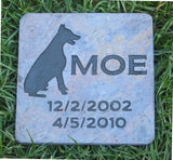 Garden Memorial Stone, Doberman, Pet Memorial Stone 6 x 6 Inch Slate