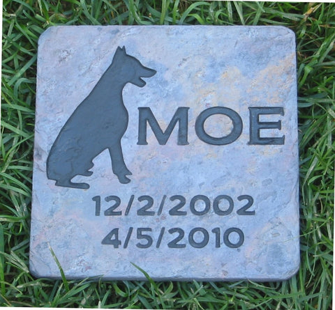 Garden Memorial Stone, Doberman, Pet Memorial Stone 6 x 6 Inch Slate - MainlineEngraving.Com
