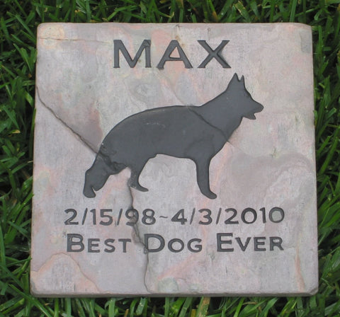 German Shepherd, Pet Memorial Stone, Garden Memorial Stone 6 x 6 Inch