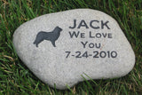 Border Collie Stone Pet Memorial, Grave Marker, Pet Gravestone 8-9 Inch