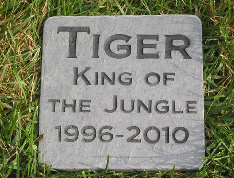 Personalized Pet Memorial Stone 6 x 6 Inch Slate Grave Maker Burial Cemetery Stone Marker