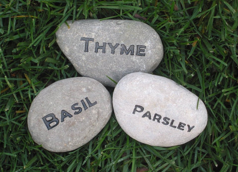 Herb Garden Markers, Stone Garden Markers Set Of 3
