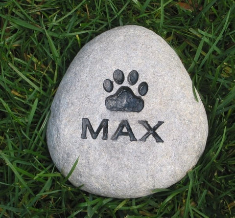 Personalized Pet Memorial Stone Rock Paw Print 4-5 Inch Pet Memorial Stone Grave Marker