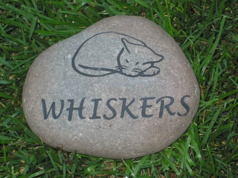 Personalized Cat Memorial Stone Grave Marker Burial Stone 7-8 Inch Pet Cat Stone Memorial with Sleeping Cat Engraved Stone