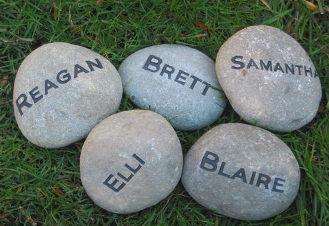 Engraved Garden Stone 4-5 inch Garden Stone Marker With Family Names Unique Birthday Gift Ideas