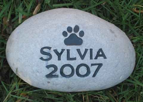 Personalized Pet Memorial Stone Dog Cat Pet Stone with Paw Print 6-7 Inch Memorial Stone Grave Marker