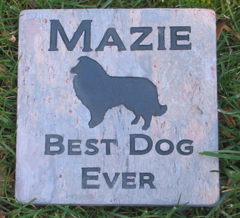 Collie Memorial Stone, Garden Memorial Stone, Pet Grave Marker 6 x 6 Inch