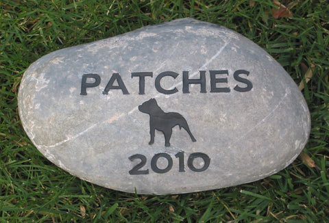 PERSONALIZED Pitbull Dog Memorial Grave Stone Burial Stone Maker 9-10 Inch Tombstone Headstone Memorial Grave Marker & Other Breeds