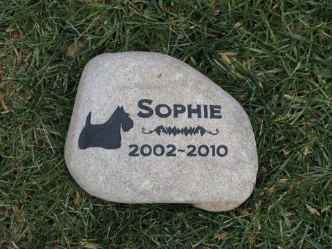Scottie Memorial Stone, Scottish Terrier, Grave Marker,  Headstone 8-9 Inch
