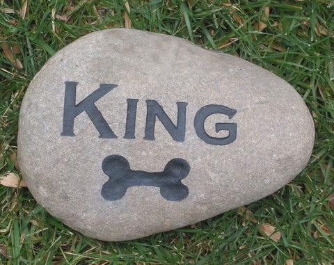 Dog Memorial Stone with Dog Bone, Gravestone, Cemetery Marker 5-6 Inch